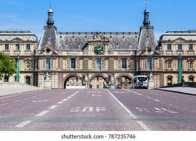 PARIS, FRANCE - MAY 9, 2017: Pont du Carrousel and tunnel entrance to Place du Carrousel adjacent to Musee du Louvre, Paris, France.