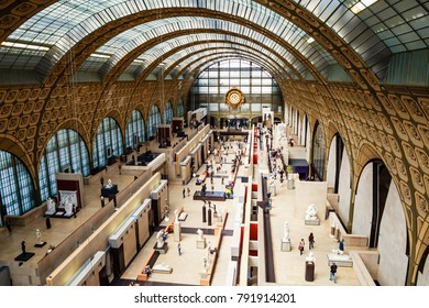 PARIS, FRANCE - MAY 9, 2017: Elevated view of the interior of the Musee d'Orsay, Paris, France