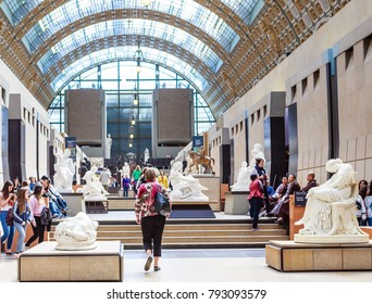 PARIS, FRANCE - MAY 9, 2017: View of the interior of the Musee d'Orsay, Paris, France