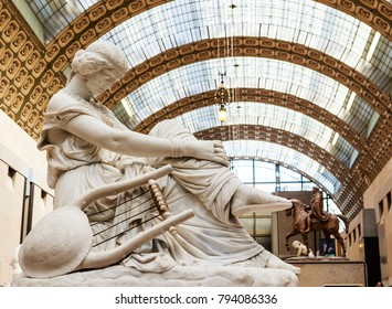 PARIS, FRANCE - MAY 9, 2017: Sappho by Jean Jacques Pradier.  Musee D'Orsay. Paris, France