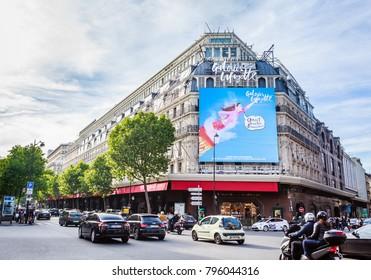 PARIS, FRANCE - MAY 9, 2017: Facade of Galeries Lafayette Haussmann.  Paris. France