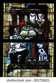 PARIS, FRANCE - NOV 05, 2012: Contemporary stained glass on the theme of Remembrance in Church of St Eustace, built in 1532-1632 and considered a masterpiece of late Gothic architecture.