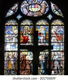 PARIS, FRANCE - NOV 05, 2012: stained glass in Church of St Eustace, built in 1532-1632 and considered a masterpiece of late Gothic architecture, in Paris on Nov 05, 2012.