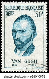 Paris, France - Nov. 10 1956:  Van Gogh (1853-1890), Dutch Post-Impressionist painter, most famous and influential figure in the history of Western art. Stamp issued by French Post in 1956.