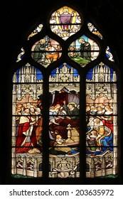 PARIS, FRANCE - NOV 11, 2012: Death of Louis XIII in the presence of Saint Vincent de Paul, Anne of Austria, the future Louis XIV and Cardinal Mazarin. Church of St Severin in Paris.