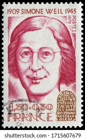 Paris, France - Nov 12, 1979: Simone Adolphine Weil(1909-1943), French philosopher, mystic, and political activist. Stamp issued by French Post in 1979.