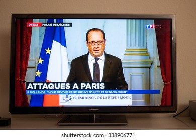 PARIS, FRANCE - NOV 13, 2015: Francois Hollande at French Television address to the Nation on the Terrorist Attacks. At least 40 people were killed across Paris, with explosions outside the stadium