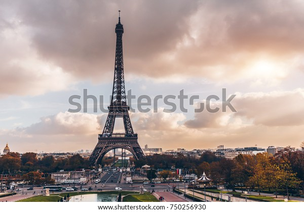 Paris, France - Nov 27, 2013: Beautiful view of Eiffel tower in Paris, France. Famous touristic places in Europe. European city travel concept.