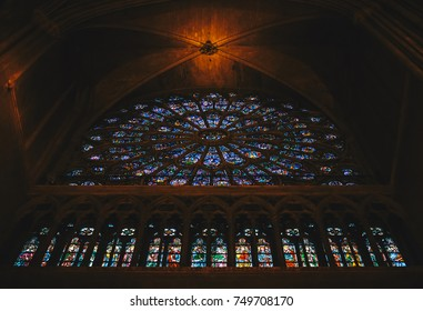 Paris, France - Nov 29, 2013: Interior view of Notre-Dame Cathedral, one of finest examples of French Gothic architecture in Paris. Construction began in the year 1163 and was completed in the 1345.