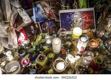 PARIS, FRANCE - Nov 29, 2015: Flowers near theater Le Bataclan in tribute to victims of the Nov. 13, 2015 terrorist attack in Paris