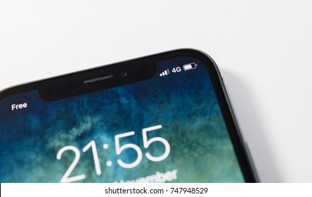 PARIS, FRANCE - NOV 3, 2017: 4G LTE icon in the corner of the new OLED Apple iPhone X 10  from Apple Computers