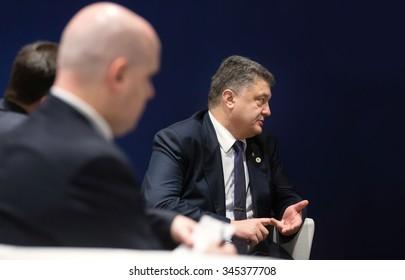 PARIS, FRANCE - Nov 30, 2015: President of Ukraine Petro Poroshenko during a meeting with the Prime Minister of the Kingdom of Denmark, Lars Loekke Rasmussen
