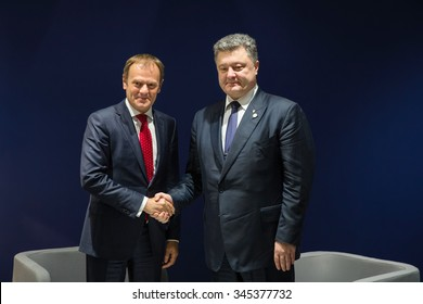 PARIS, FRANCE - Nov 30, 2015: In the course of the UN Climate Conference, President of Ukraine Petro Poroshenko met with President of the European Council Donald Tusk