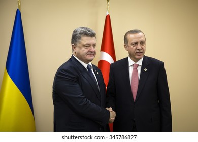 PARIS, FRANCE - Nov 30, 2015: President of Ukraine Petro Poroshenko and Turkish President Recep Tayyip Erdogan in the course of the UN Climate Conference in Paris