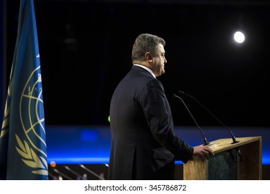 PARIS, FRANCE - Nov 30, 2015: Speech by the President of Ukraine Petro Poroshenko at the 21st session of the UN Conference on Climate Change
