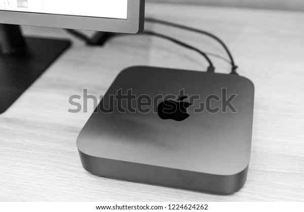 PARIS, FRANCE - NOV 7, 2018: Hero object of new Apple Mac Mini computer with the new processor cpu, 64 DDR4 RAM and 10 Gigabit Ethernet port black and whtie