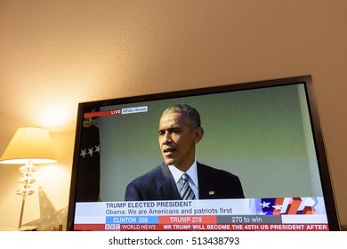 PARIS, FRANCE - NOV 9, 2016: Barack Obama on tv news on Channel with the result elections in the United States where Donald J Trump has become the 45th president of USA