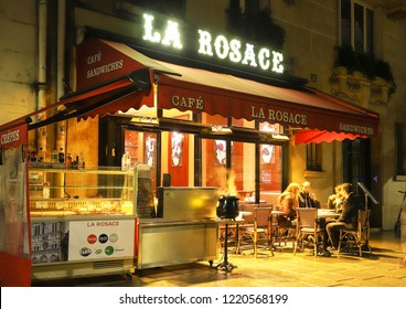 PARIS, France - November 01 , 2018: La Rosace is traditional French cafe located in the Notre Dame neighborhood in Paris, France.