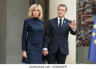 PARIS, FRANCE - NOVEMBER 10, 2018 : The french President Emmanuel Macron with his wife Brigitte Macron during the visit of the President of United States of America Donald Trump at the Elysee Palace.