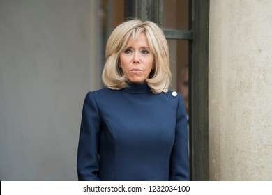 PARIS, FRANCE - NOVEMBER 10, 2018 : Brigitte Macron attends Melania Trump during the visit of the President of United States of America Donald Trump at the Elysee Palace.