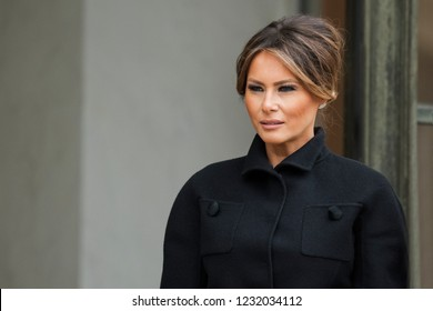 PARIS, FRANCE - NOVEMBER 10, 2018 : The wife of the President of United State of America Melania Trump at the Elysee Palace in France.