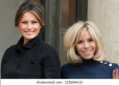 PARIS, FRANCE - NOVEMBER 10, 2018 : Brigitte Macron welcoming Melania Trump during the visit of the President of United States of America Donald Trump at the Elysee Palace.