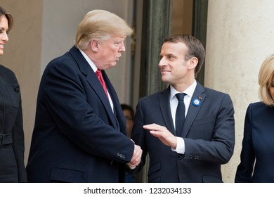 PARIS, FRANCE - NOVEMBER 10, 2018 : The french President Emmanuel Macron with the President of United States of America Donald Trump at the Elysee Palace for an extended interview.