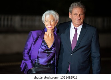 PARIS, FRANCE - NOVEMBER 10 2018 : Christine Lagarde Director of the International Monetary Fund and his husband Wilfred Lagarde at the Orsay museum to commemorate the end of the first world war.