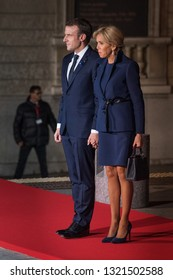 PARIS, FRANCE - NOVEMBER 10 2018 :  The President of France Emmanuel Macron and his wife Brigitte Macron at the Orsay museum to commemorate the end of the first world war.
