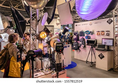 PARIS, FRANCE - NOVEMBER 11, 2019. International Exhibition of Photography. Booth of lighting equipment, the new products 2020, from the famous manufacturer Elinchrom.