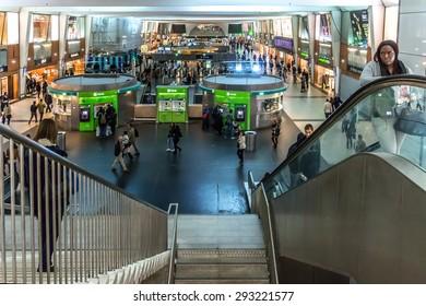 PARIS, FRANCE - NOVEMBER 12, 2014: Interior of La Defense RER (metropolitan underground transportation of Paris) station, located underneath Grande Arche building in La Defense business district.