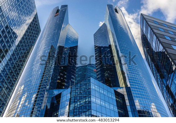 PARIS, FRANCE - NOVEMBER 12, 2014: View of Societe Generale headquarter (SG) in La Defense district. Societe Generale is a French multinational banking and financial services company.