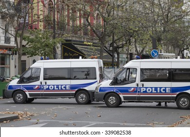 PARIS, FRANCE - NOVEMBER 14, 2015 : Police in front of the theater Bataclan to protect crime scene after terrorist attack of ISIS at Paris november 13, 2015.