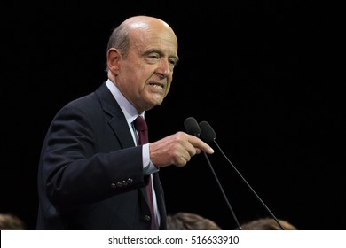 PARIS, FRANCE - NOVEMBER 14, 2016 : Alain Juppe in meeting for the primaries of the political party Les Republicains at the the Zenith of Paris for the French presidential election of 2017.