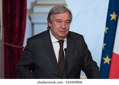 PARIS, FRANCE - NOVEMBER 14, 2016 : Antonio Guterres, the Secretary-General of the United Nations (designate) for a working lunch with french president Francois Hollande at Palais de l'Elysee.