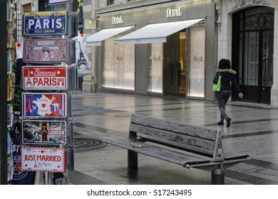 PARIS, FRANCE, November 15, 2016 : Gifts for sale in the Champs Elysees Avenue. Paris is the fifth most expensive city in the world for luxury housing.
