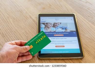"Paris, France - November 15, 2018 : French health insurance website, presenting the new ""shared medical file""(DMP), on a digital tablet."