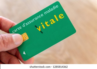 Paris,  France - November 15, 2018 : Vital card in the hand of an insured