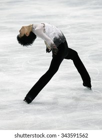 PARIS, FRANCE - NOVEMBER 16, 2013: Yuzuru HANYU of Japan performs free program at Trophee Bompard ISU Grand Prix at Palais Omnisports de Bercy.