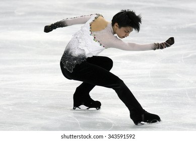 PARIS, FRANCE - NOVEMBER 16, 2013: Yuzuru HANYU of Japan performs free program at Trophee Bompard ISU Grand Prix at Palais Omnisports de Bercy.