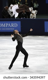 PARIS, FRANCE - NOVEMBER 16, 2013: Vanessa JAMES / Morgan CIPRES of France perform free program at Trophee Bompard ISU Grand Prix at Palais Omnisports de Bercy.