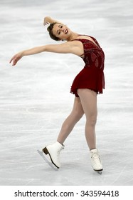 PARIS, FRANCE - NOVEMBER 16, 2013: Ashley WAGNER of USA performs free program at Trophee Bompard ISU Grand Prix at Palais Omnisports de Bercy.