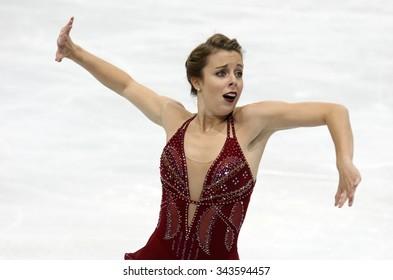 PARIS, FRANCE - NOVEMBER 16, 2013: Ashley WAGNER of USA performs free program at Trophee Bompard ISU Grand Prix at Palais Omnisports de Bercy.