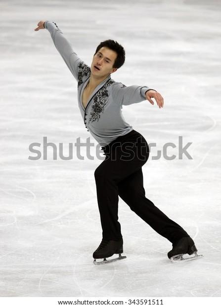 PARIS, FRANCE - NOVEMBER 16, 2013: Patrick CHAN of Canada performs free program at Trophee Bompard ISU Grand Prix at Palais Omnisports de Bercy.