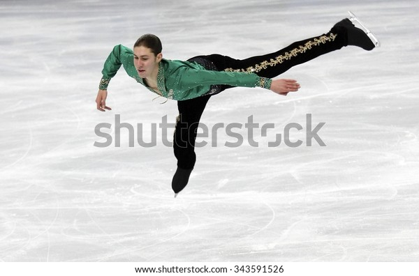 PARIS, FRANCE - NOVEMBER 16, 2013: Jason BROWN of USA performs free program at Trophee Bompard ISU Grand Prix at Palais Omnisports de Bercy.