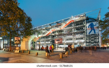PARIS, FRANCE - NOVEMBER 17,  2016: Pompidou center at dusk. It was designed in the style of high-tech architecture by the team of Richard Rogers and Renzo Piano, along with Gianfranco Franchini.