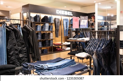 PARIS, FRANCE - NOVEMBER 17, 2018:  Diesel clothes store in BHV Marais department store. The most popular Diesel (Italian retail clothing company) apparel item is denim wear.