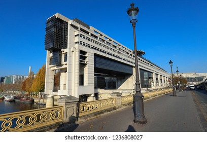 PARIS, FRANCE - November 17 , 2018- The headquarters of the French Ministry of Finance and Economy is located in the Bercy neighborhood in the 12th arrondissement of Paris, extending over the Seine