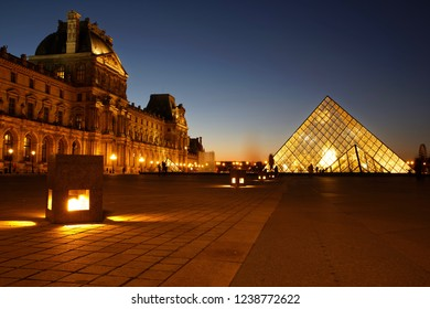 Paris, France: November 18, 2018: Louvre pyramid museum in Paris at blue hour