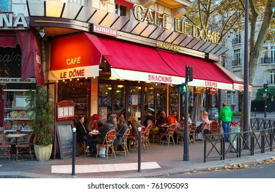 PARIS, FRANCE - November 19, 2017: Le Dome is a typical French cafe located near the Eiffel tower in Paris, France.